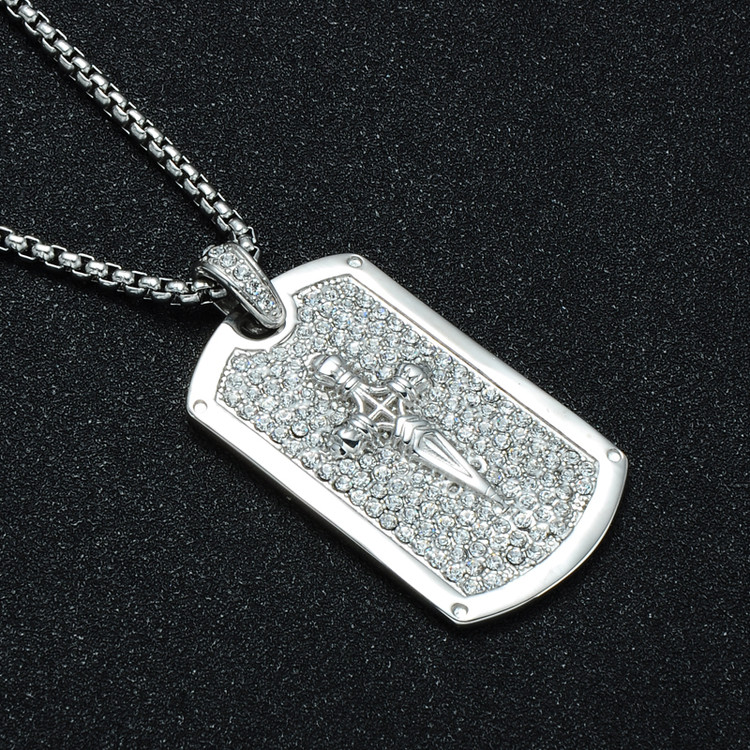 HIP Hop Bling Ice Out Full AAA Simulated Diamond Square Dagger Cross Pendant