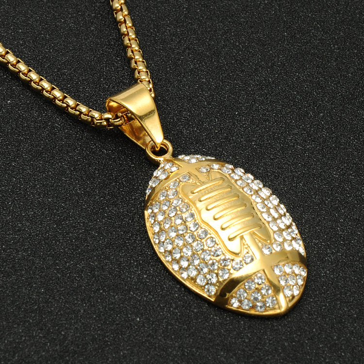 Simulated Diamond Iced Out Football Season Stainless Steel Chain Pendant
