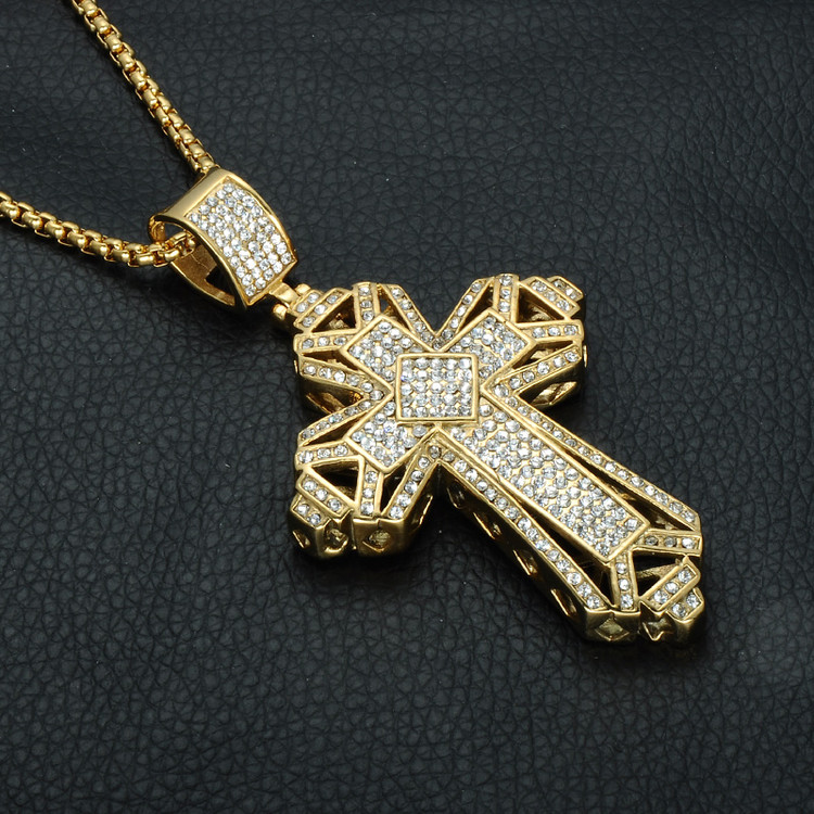 14k Gold Solid Titanium Stainless Steel Hip Hop Christian Mens Chain Necklace