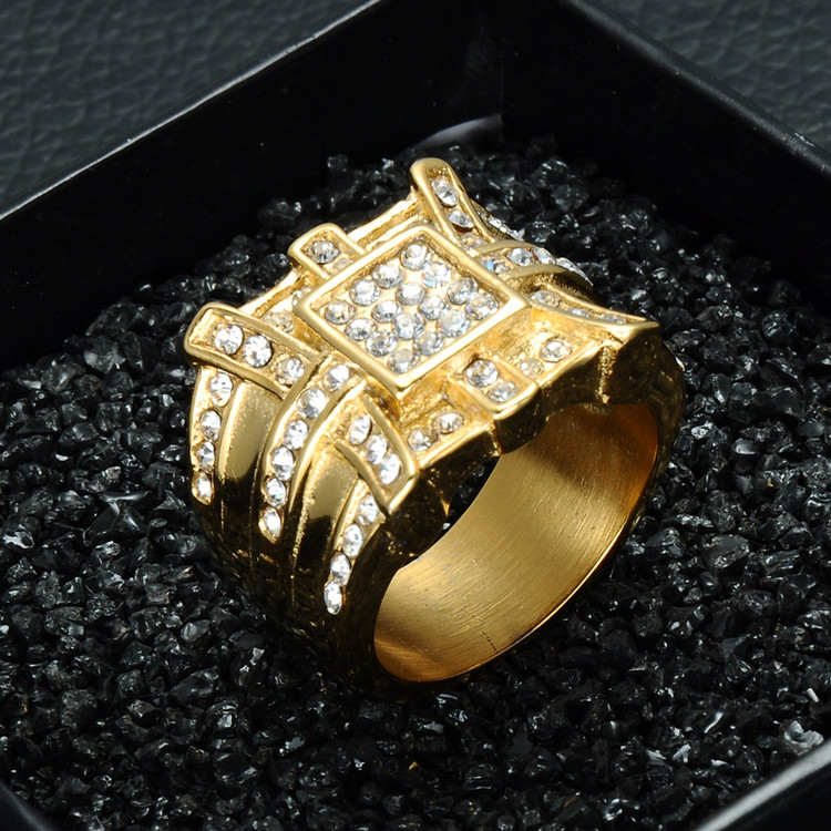 Hip Hop Simulated Diamond 14k Gold Stainless Steel Full Stone Ring