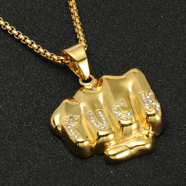 14k Gold Iced Out Fu*k Fist Titanium Stainless Steel Hip Hop Chain Pendant
