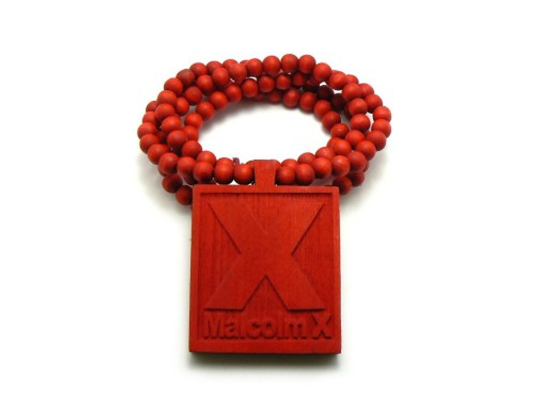 Malcolm X Hip Hop Pendant Chain Necklace Wood Red