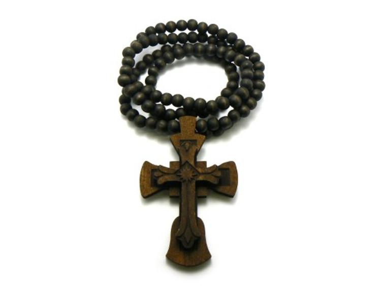 Wooden Ancient Cross Hip Hop Pendant Brown