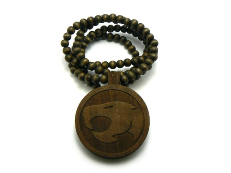 Wood Thunder Cats Hip Hop Pendant w/ Beaded Chain Brown