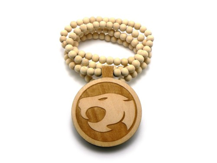 Wood Thunder Cats Hip Hop Pendant w/ Beaded Chain Natural
