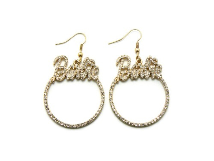 Gold Barbie Diamond Cz Hip Hop Bling Earrings