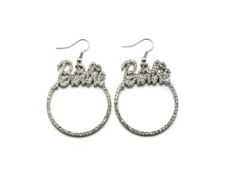 Silver Barbie Diamond Cz Hip Hop Bling Earrings