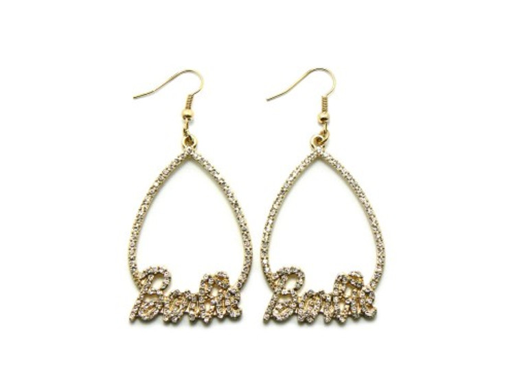 Gold Teardrop Barbie Diamond Cz Hip Hop Bling Earrings