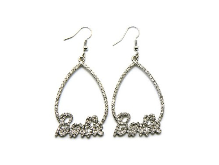 Silver Teardrop Barbie Diamond Cz Hip Hop Bling Earrings