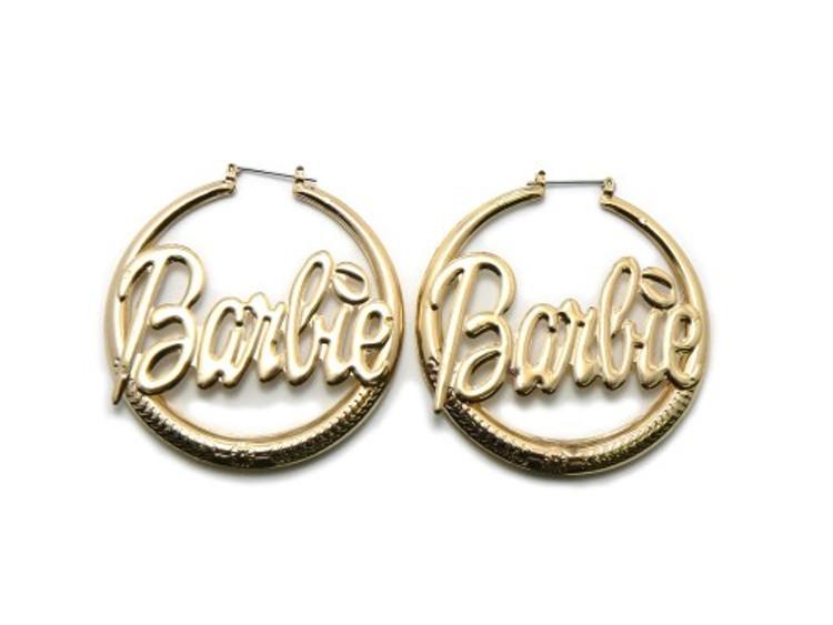 Gold Barbie Diamond Cz Hip Hop Bling Hoop Earrings