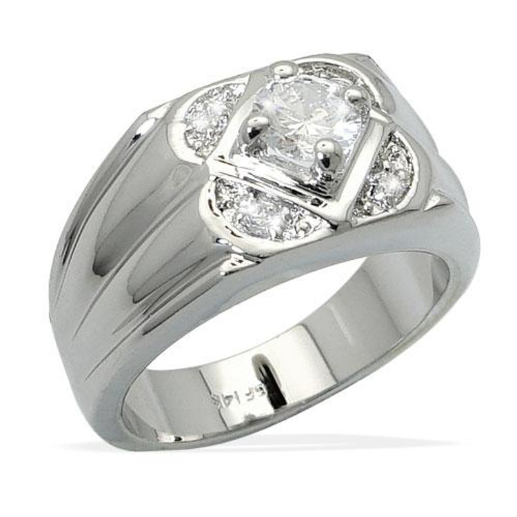 Mens Hip Hop Diamond Cz Floating Stone Bling Ring Silver