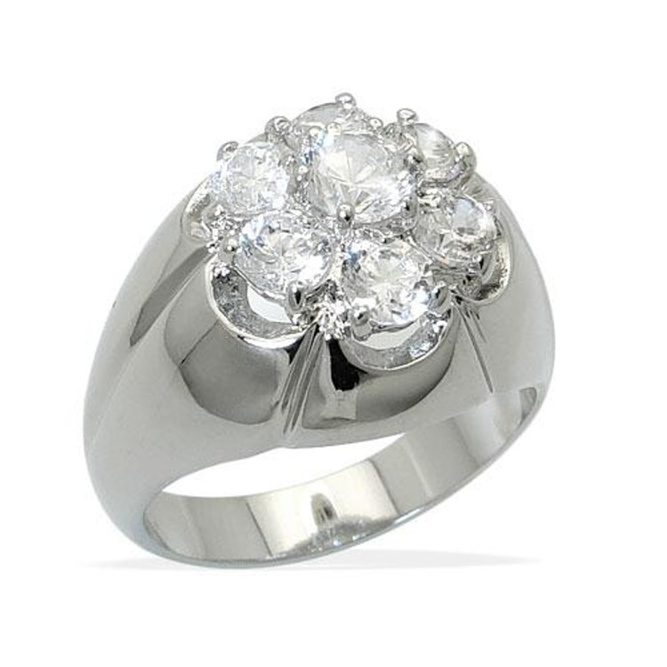 Men's Silver Diamond Cz Godfather Iced Out Ring