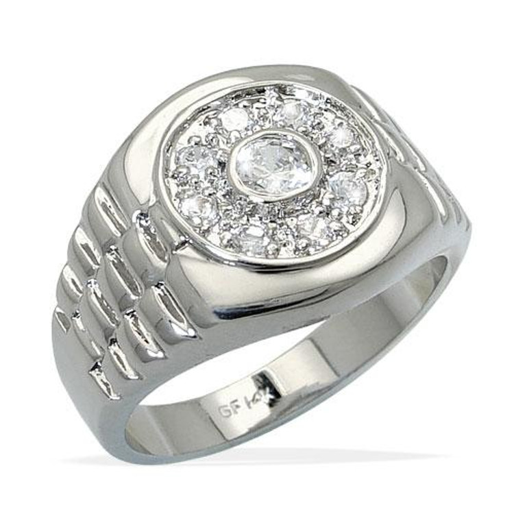 Mens Rhodium Silver Double Circle Iced Out Bling Ring