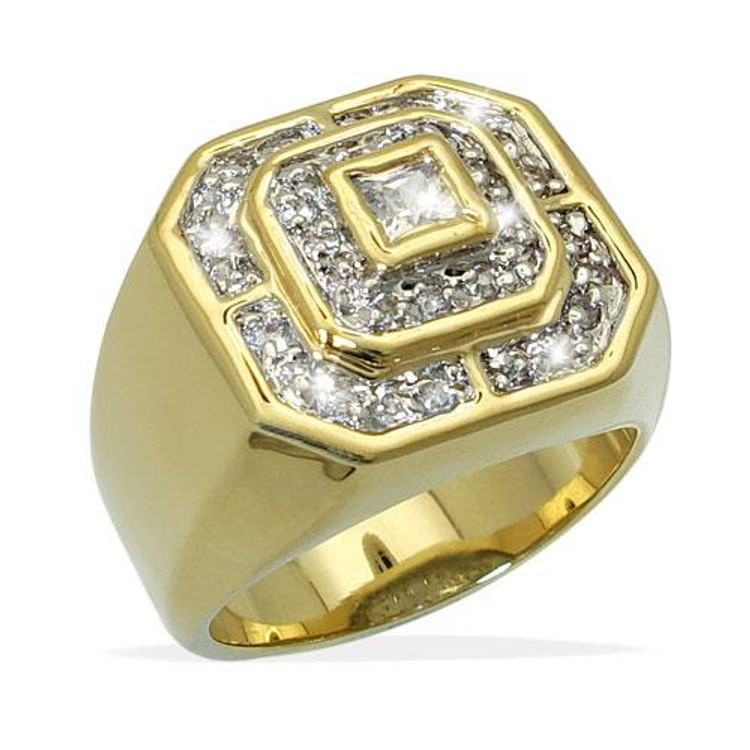 Men's Diamond Cz 3 Level Center Stone Iced Out Ring Gold