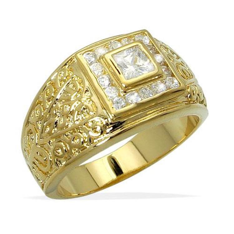 Mens Gold Diamond Cz Antique Cut Princess Stone Bling Ring