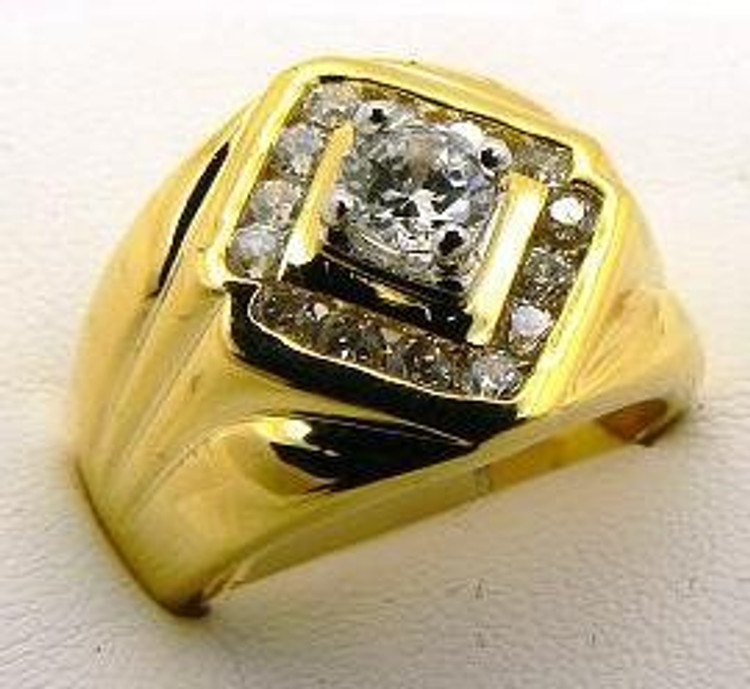 Diamond Cz King Bling Hip Hop Stone Pinky Ring Gold