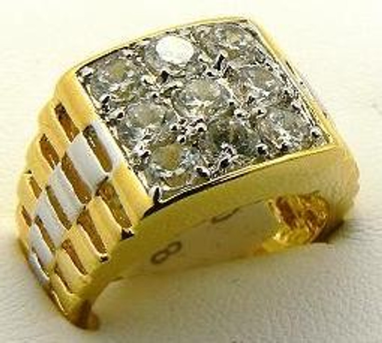 Mens Diamond Cz 9 Stone Hip Hop Bling Ring Gold