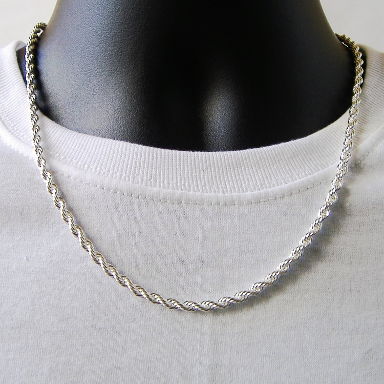 .925 Silver Rope Hip Hop Chain