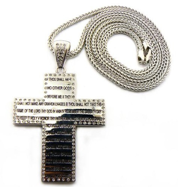 Mens 10 Commandments Silver Diamond CZ Hip Hop Cross Pendant