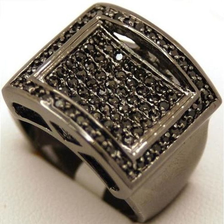 Mens Square Plaque Black Cz Stone Hip Hop Rings