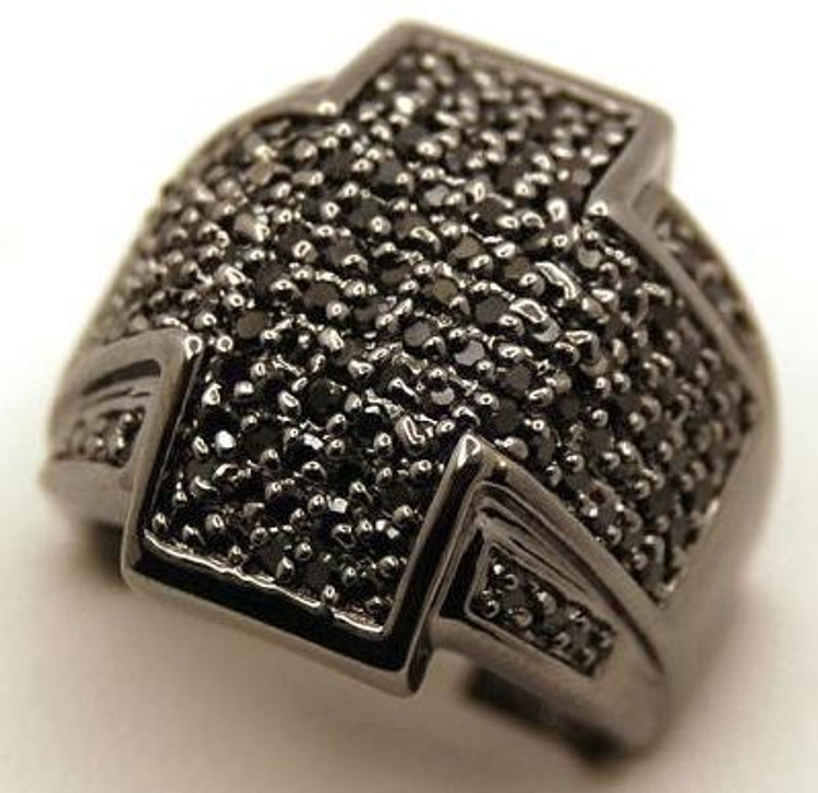 Wrap Cross Black on Black Diamond Cz Iced Out Ring