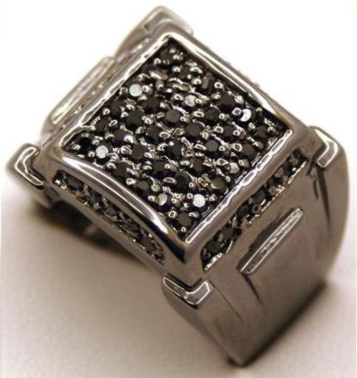 Mens Square Classic Black on Black Diamond Cz Bling Ring
