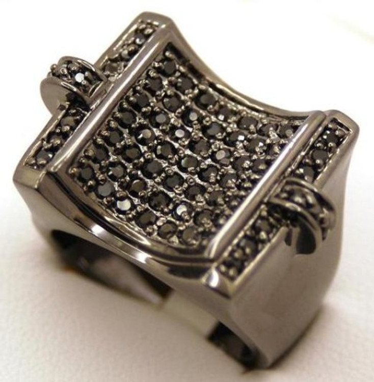 Black on Black Deep Concave Hip Hop Diamond Cz Ring
