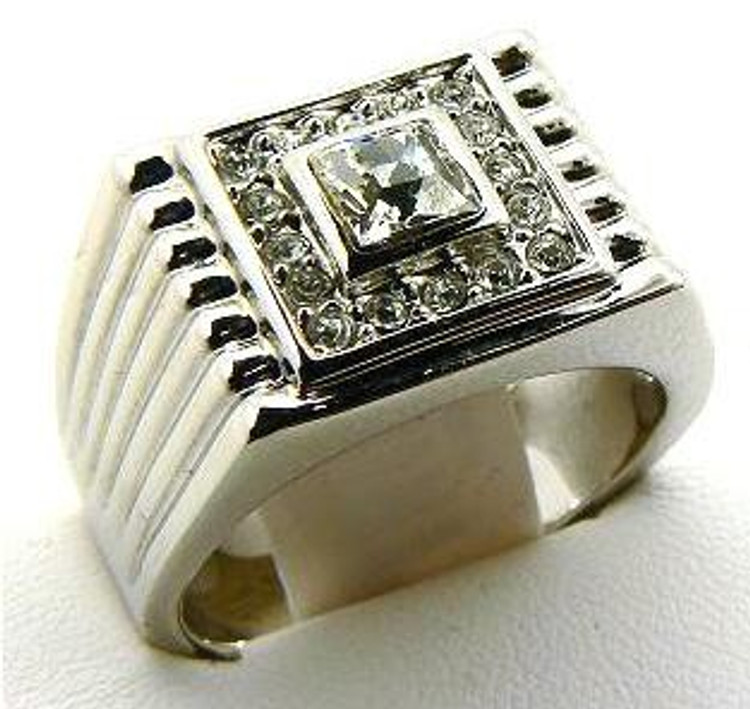 Big Square Center Stone Iced Out Diamond Cz Ring Silver