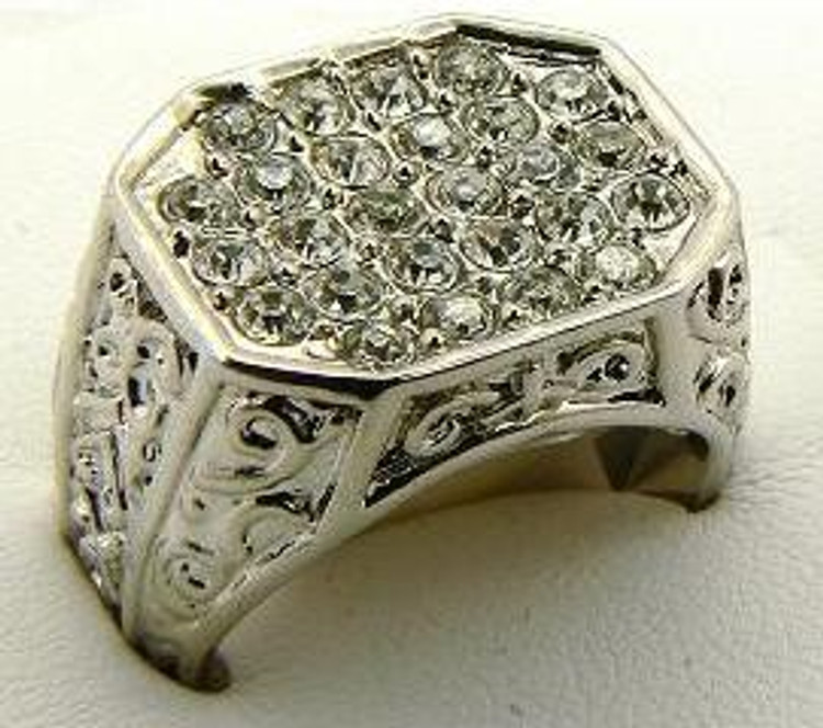 Mens Antique Style Designer Diamond CZ Iced Out Ring Silver