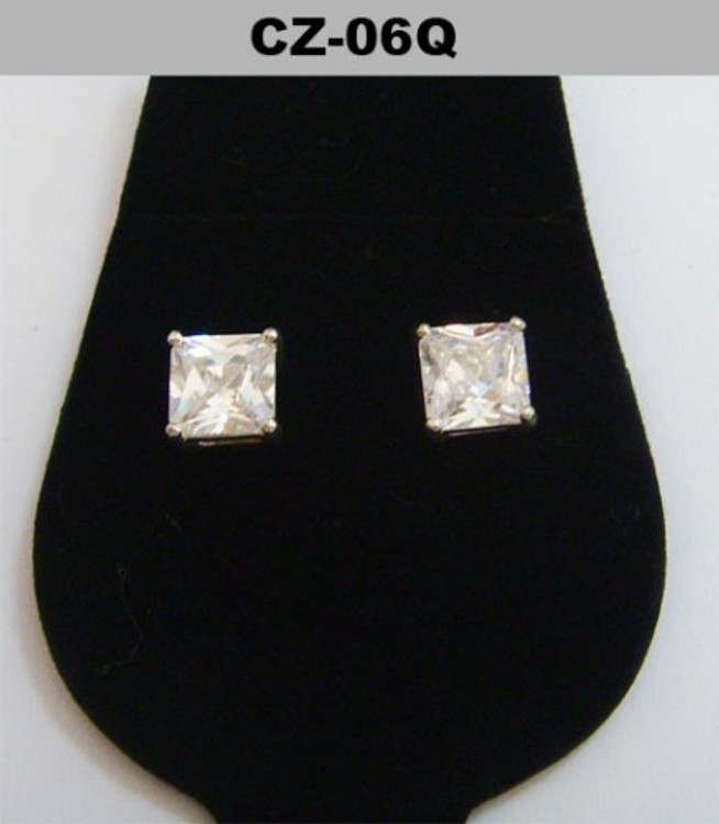 Silver 6mm Princess Cut Diamond Cz Iced Out Earrings
