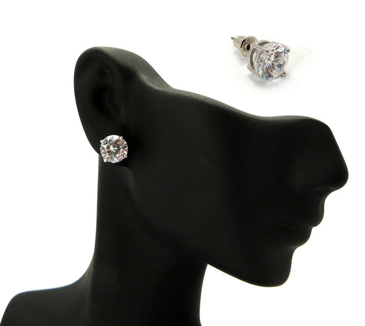 7mm Round Cut Diamond Cz Iced Out Earrings