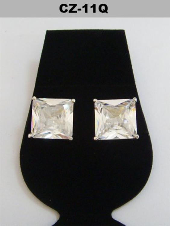 Silver 11mm Princess Cut Iced Out Diamond Cz Earrings