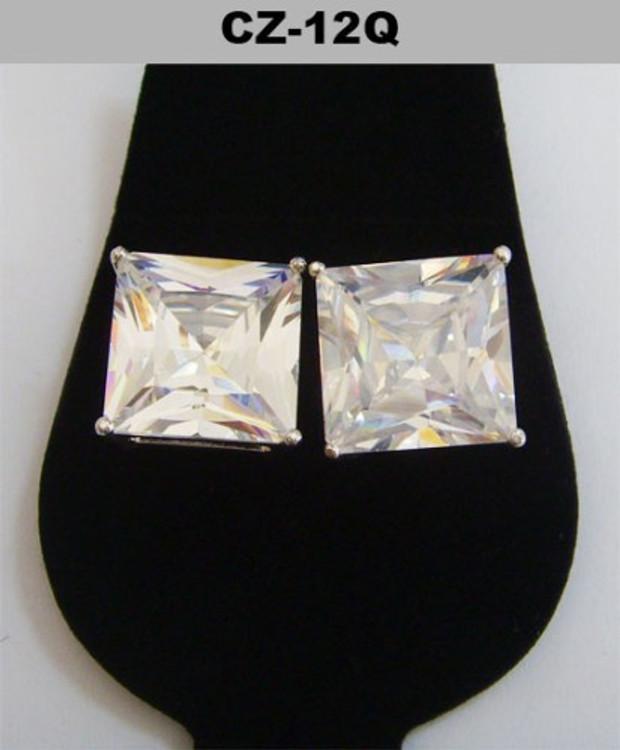 Silver 12mm Princess Cut Iced Out Diamond Cz Earrings