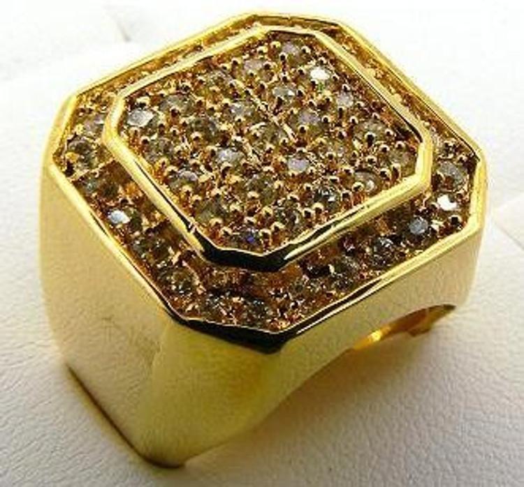 Men's Double Octagon Hip Hop Bling Ring Gold
