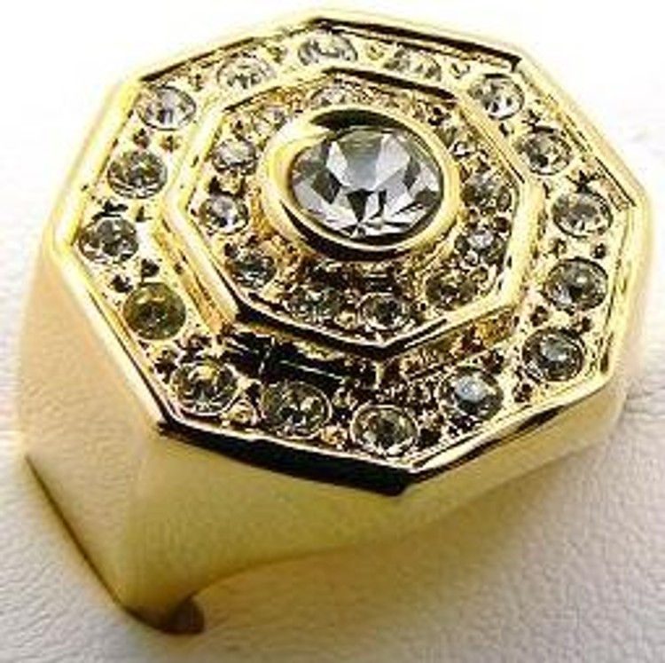 Men's Raised Center Stone Iced Out Diamond Cz Rings Gold