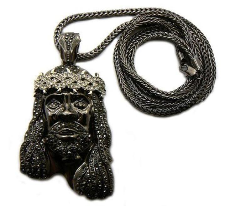 Men's Black Hematite & Rhodium Silver Jesus Piece Pendant & Chain