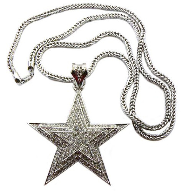 Genuine Diamond Cz Original Hood Star Iced Out Bling Pendant