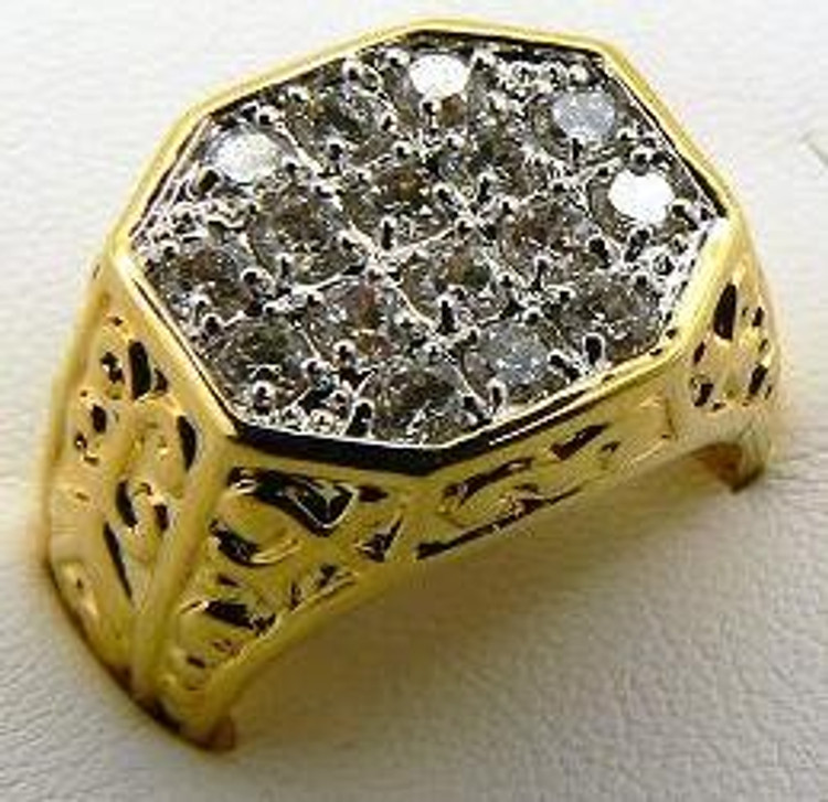 Mens Antique Style Designer Diamond CZ Iced Out Ring Gold