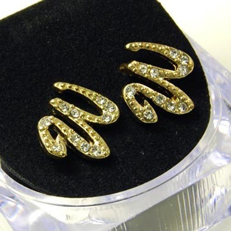 Gold Diamond Cz Initial W Hip Hop Earrings