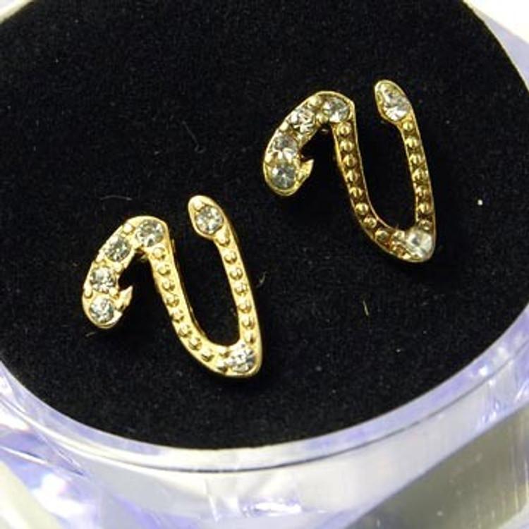 Gold Diamond Cz Initial V Hip Hop Earrings