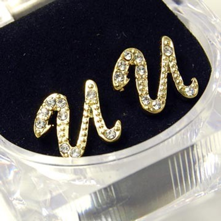 Gold Diamond Cz Initial U Hip Hop Earrings