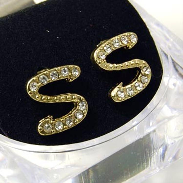 Gold Diamond Cz Initial S Hip Hop Earrings