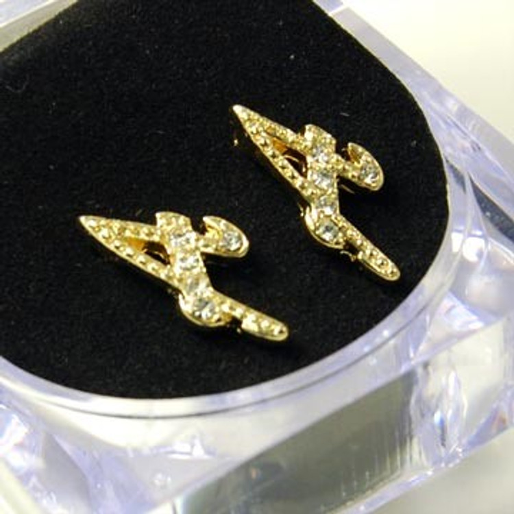 Gold Diamond Cz Initial A Hip Hop Earrings