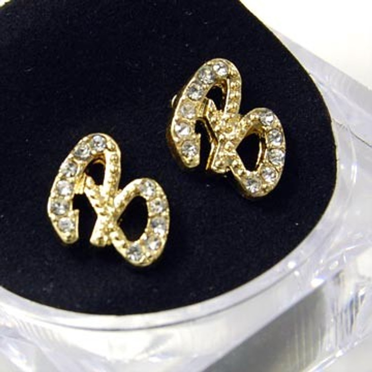 Gold Diamond Cz Initial B Hip Hop Earrings