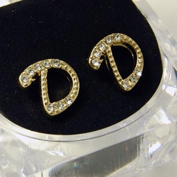 Gold Diamond Cz Initial D Hip Hop Earrings