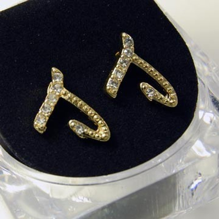 Gold Diamond Cz Initial J Hip Hop Earrings