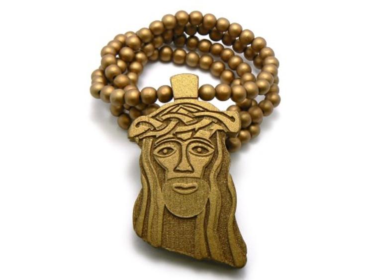 Wood JESUS Piece Hip Hop Pendant Golden