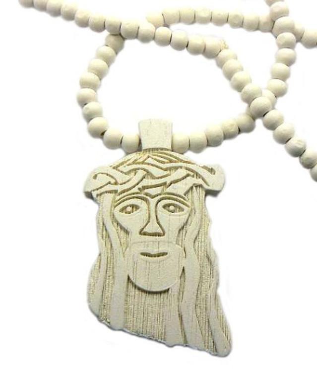 Wood JESUS Piece Hip Hop Pendant White