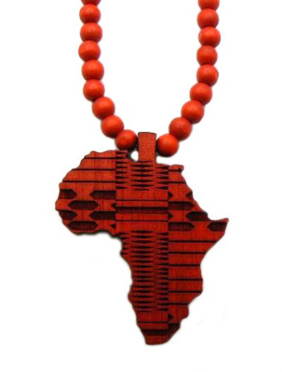 Wood Africa Wooden Hip Hop Pendant Red