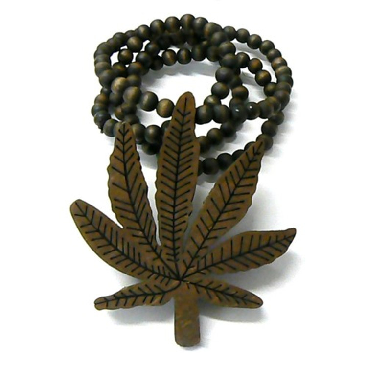 Wooden Weed Marijuana Leaf Hip Hop Pendant Brown